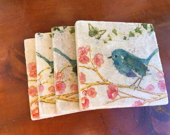 Coaster Set-Bird Coaster Set-Travertine tiles-Housewarming gift- Bird Coaster set-Farmhouse Decor-Wedding gift