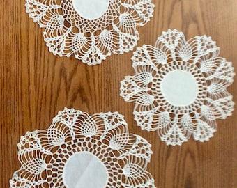 Trio of White Crochet Round Doilies