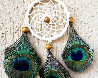 Mini Boho Bohemian Gypsy Dreamcatcher Dreamcatcher White Peacock feathers