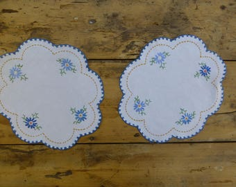 Pair of Embroidered Linen Dressing Table Mats 27x23cm