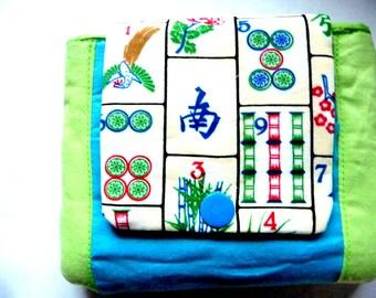 New! snap wallet with mahjong fabric