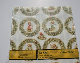 Vintage Holly Hobbie Angel Christmas Gift Wrap, Cute Girls Wrapping Paper, 2 Sheets NIP
