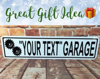 """Custom Name Your Text Garage Mini METAL Sign 3""""x12"""" Personalized! You choose Name!"""