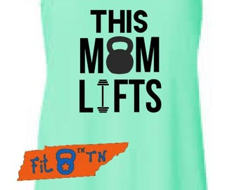 THIS MOM LIFTS Crossfit Workout Fitness running Tank Racerback Tank-top weightlifting