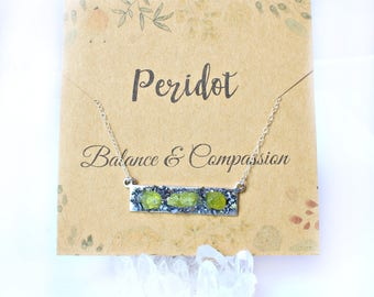 Peridot Birthstone Necklace, Birthday Bar Necklace, Birthstone Jewelry for August, Gemstone Bar Necklace Jewelry, Crystal Peridot Necklace