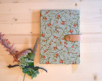 Journal Sketchbook Mint Green Floral with Peach Pink Rose Blush Leather Magnetic Strap