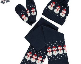 Hat, scarf, kids gloves set