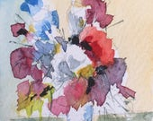 Floral ORIGINAL Miniature Watercolour 'Flowers in the Sunlight' ACEO, For him, For her,  Home Decor, Wall Art, Gift Idea, Free Shipping