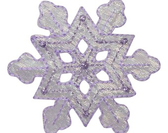 Purple Shimmery Snowflake Applique Patch (Iron on)