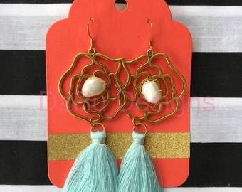 Gold rose with pearl and light blue tassel, tassel earrings, tassel jewelry