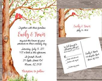 Personalized Love Bird Wedding Invitations, Custom Tree Wedding Invite,  Wedding Rustic Wedding Invitations