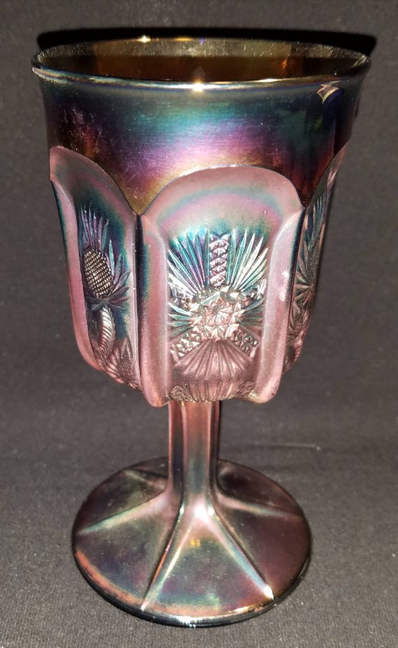 FREE SHIPPING-Vintage-St. Clair-Panelled Thistle-Cobalt-Carnival Glass-Wine-Goblet