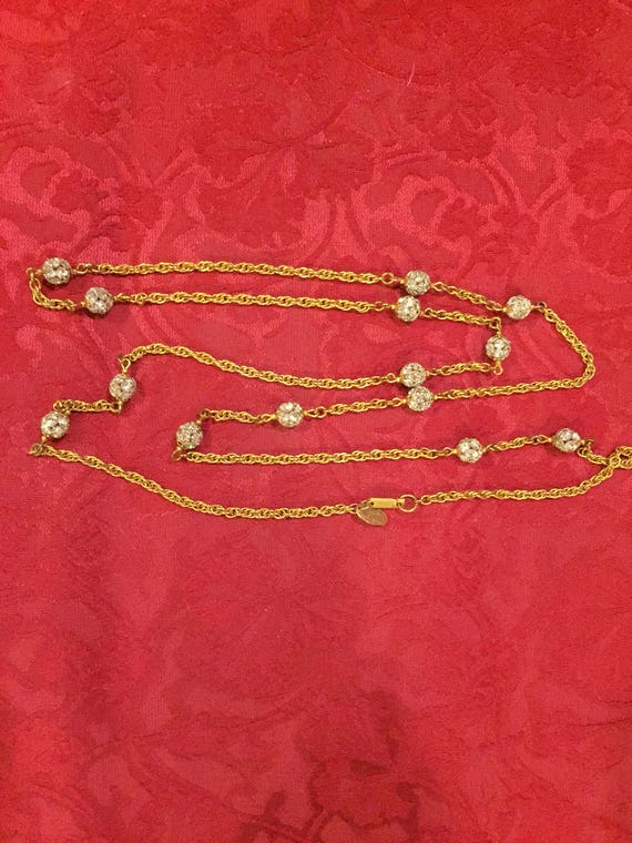 FREE SHIPPING-Vintage Miriam Haskell- Rhinestone Necklace