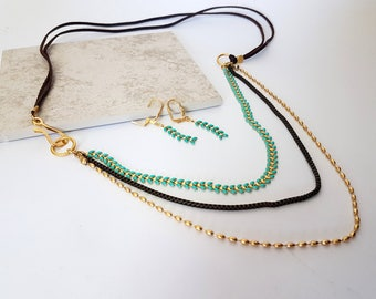 Turqouise Matching Set Necklace And Earrings, Multi Chain Necklace With Leather, Gold Turqouise Leaves Necklace With Earring Gift For Her