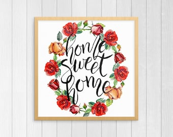 Home Sweet Home Sign | Square, Housewarming Gift, Home Sign, Home Decor, Floral Wreath Welcome Sign, Welcome Home Print, Printable Poster