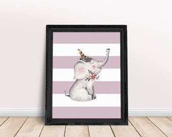 Nursery Elephant   Bohemian Nursery, Baby Elephant, Tribal Baby Room, Immediate Download, Printable Poster, Bohemian Animal, Floral Animal