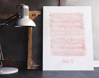 Psalm 23 Verse | Psalm Bible Verse, Bible Verse Pink, Scripture Watercolor, Bible Verse Brush, Bible Verse Painting, Scripture Pink