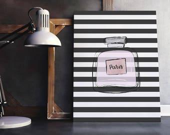 Printable Makeup Art   Striped Makeup Art, Perfume Wall Art, Milan Poster, French Beauty Art, Paris Poster, Perfume Poster, Perfume Print