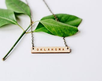 Oklahoma Wood Bar Necklace, Laser Cut Wood Charm, Baltic Birch Pendant, Minimalist Necklace, Oklahoma State Pride, Engraved State Necklace