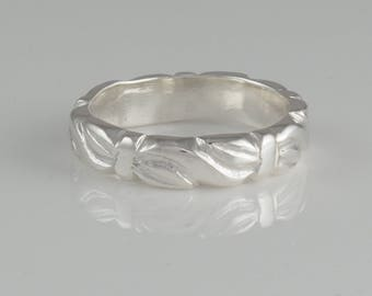 Hand Carved Sterling Silver Ring Band