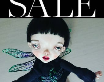 Sale until 1July!  Art doll, Ooak art doll, Art clay doll, Handmade doll, Paper clay doll