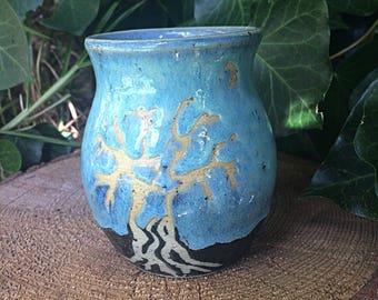 Tree and moon pottery mug
