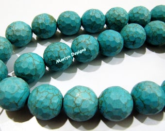 SALE- Turquoise Magnasite Ball Shape Beads / Round faceted Beads 15mm / Sold Per Strand of 15 inches Long / Howlite Turquoise Gemstone Beads
