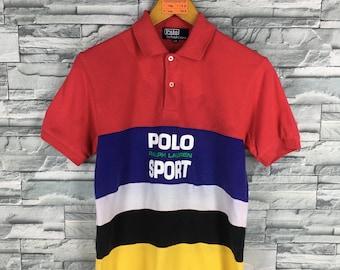 Vintage POLO SPORT Polo Shirt Stripes Xsmall Vintage 90's Ralph Lauren Polo Sport RL 67 Multicolour Size Xs