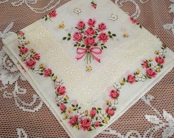 Rose Floral Bouquet Lace Look Handkerchief, Lace Floral Bouquet Hanky, White Rose Handkerchief, Pink Rose Bouquet Hanky