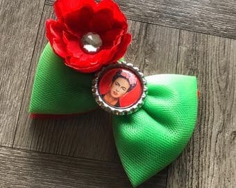 Frida Hair Bow, Frida Bow, Frida Hair Bows, Hair Bows, Bows, Girly Bows, Tulle Hair Bow, Red and Green Bow