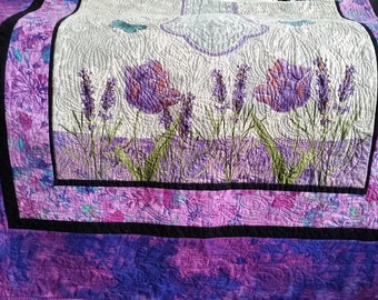 Quilted Throw, Lap Quilt, Twin - Cross, Easter, Spring, Mother's Day, Housewarming, purple, pink, cream, flowers, great gift