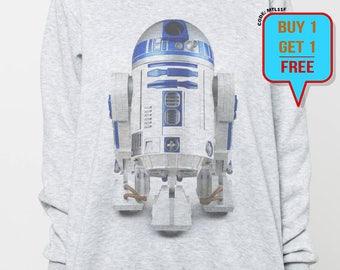 Star Wars sweater women sweatshirt R2-D2 men shirt tshirt jumper long sleeve tshirt tee shirt grey
