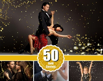 50 Gold blowing glitter confetti photoshop overlays, bokeh blow, magic Overlay, dust effect, wedding photo, gold, png file