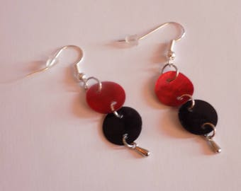 Earring drops red burgundy/black round and the drop