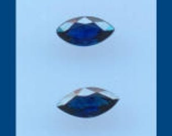 NAVY BLUE SAPPHIRE – A Pair Of  7 x 3.5 Millimeter Facetted Marquise Shaped  Vintage Gems