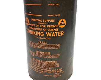 Vintage MILITARY BARREL water storage army metal trash can waste bin green drum steampunk OD olive drab old rustic hamper holder orange 1963