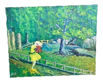 Vintage OIL PAINTING Girl Windy Garden mid century modern signed listed artist Lucille Cohn New York woman landscape portrait green spring