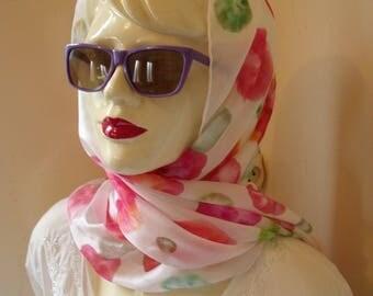 Handpainted silk scarf, watercolour circles, pink, green, orange