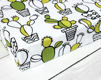 crib sheet, monochrome baby, fitted crib sheet, crib bedding, crib sheets, baby crib sheets, girl crib bedding, boy crib bedding, cactus