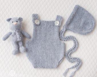 READY TO SHIP Newborn Bonnet, Romper and Teddy set, Grey Blue angora mix yarn, hand knitted, Photography prop, Newborn boy