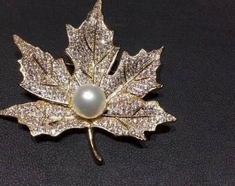 Maple Leaf Shape - Pearl & Swarovski Crystal Brooch