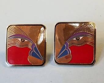 """Vintage Laurel Burch """"Moa Bird"""" earrings, laurel burch earrings, laurel burch, pierced earrings, bird earrings"""