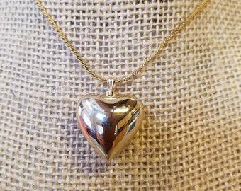 Vintage Avon Puff Heart Pendant, Avon pendant, avon necklace, heart necklace, avon heart necklace