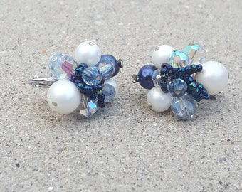 Vintage Vendome Cluster Clip Earrings in Pearl, Crystal Blue and AB Glass, Seed Bead, AB Crystal Beaded Earrings