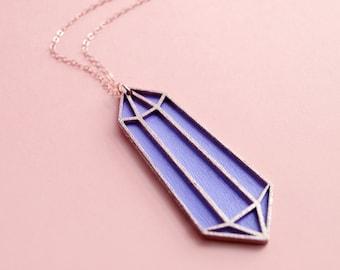 Laser Cut Pastel Purple Crystal Quartz Necklace / Wooden Hand Painted Lavender Geometric Pendant / 14K Rose Gold Filled Chain / Minimalist