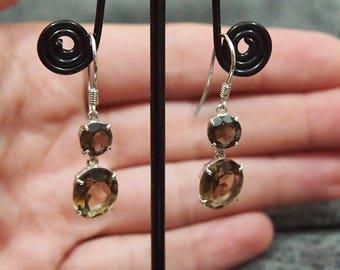 Natural smoky quartz earrings 2 stone earrings Round gems earrings 925 Sterling silver Drop earrings Long earrings Classic gemstone jewelry