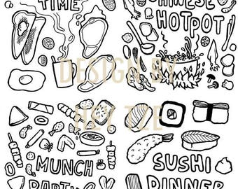 Foodie Colouring Page - sushi colouring page, fast food colouring page, English breakfast coloring page, Chinese food colouring page