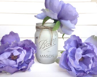 Flower Pen Set - Ivory White Mason Jar with Light Purple Violet Lilac Lavender Peony Flower Pens Distressed Rustic Shabby Chic Gift for Her