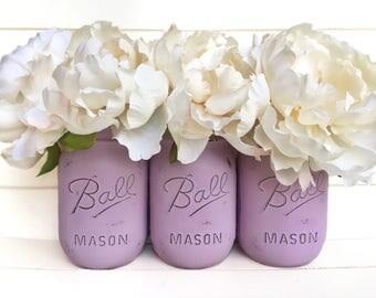 Three Painted Mason Jar - Shabby Chic Rustic Decor Centerpieces Baby Shower Flower Vases Distressed Pastel Light Purple Lavende Nursey Girl