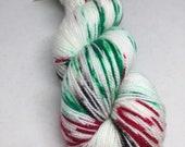 SALE PRICE Hand dyed sock yarn Christmas yarn Peppermint Bark, OOAK, red and green  indie yarn, sock yarn hand dyed